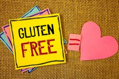 Conceptual hand writing showing Gluten Free. Business photos text Diet with products not containing ingredients like wheatIdeas cr. Conceptual hand writing royalty free stock photo