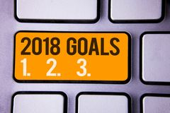 Conceptual hand writing showing 2018 Goals 1. 2. 3.. Business photo text Resolution Organize Beginnings Future Plans Gray color po. Lished keyboard with yellow royalty free stock image