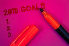Conceptual hand writing showing 2018 Goals 1. 2. 3.. Business photo text Resolution Organize Beginnings Future Plans Magenta color. Platform dark red color stock photo