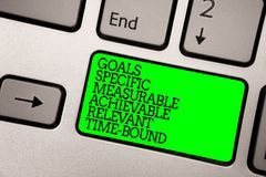 Conceptual hand writing showing Goals Specific Measurable Achievable Relevant Time Bound. Business photo showcasing Strategy Missi. On Keyboard green key royalty free stock photos