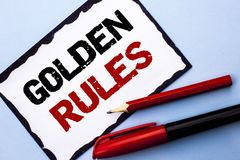 Conceptual hand writing showing Golden Rules. Business photo text Regulation Principles Core Purpose Plan Norm Policy Statement wr. Itten White Sticky Note Paper Stock Photos