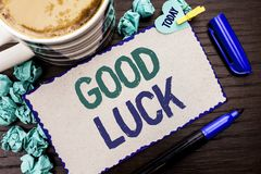 Conceptual hand writing showing Good Luck. Business photo showcasing Lucky Greeting Wish Fortune Chance Success Feelings Blissful. Written Cardboard Piece Royalty Free Stock Photos