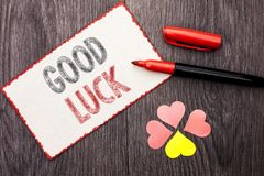 Conceptual hand writing showing Good Luck. Business photo text Lucky Greeting Wish Fortune Chance Success Feelings Blissful writte. N Cardboard Piece With Marker Royalty Free Stock Photo