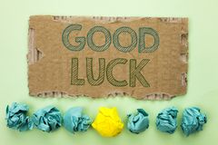 Conceptual hand writing showing Good Luck. Business photo text Lucky Greeting Wish Fortune Chance Success Feelings Blissful writte. N Tear Cardboard plain Royalty Free Stock Image