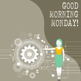 Conceptual hand writing showing Good Morning Monday. Business photo showcasing Happy Positivity Energetic Breakfast. Conceptual hand writing showing Good royalty free illustration