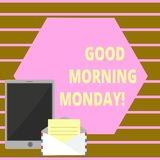 Conceptual hand writing showing Good Morning Monday. Business photo text Happy Positivity Energetic Breakfast. Conceptual hand writing showing Good Morning stock illustration