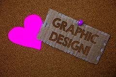 Conceptual hand writing showing Graphic Design Motivational Call. Business photo text Art of combining Text Images in advertising. Brown old damaged paperboard royalty free stock images