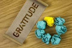 Conceptual hand writing showing Gratitude. Business photo showcasing Quality of being thankful Appreciation Thankfulness Acknowled. Ge written Cardboard Paper Stock Photos