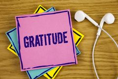 Conceptual hand writing showing Gratitude. Business photo showcasing Quality of being thankful Appreciation Thankfulness Acknowled. Ge written Sticky Note Paper Stock Images