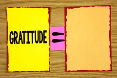 Conceptual hand writing showing Gratitude. Business photo text Quality of being thankful Appreciation Thankfulness Acknowledge wri. Tten Sticky Note Paper wooden Royalty Free Stock Photos