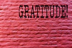 Conceptual hand writing showing Gratitude. Business photo text Quality of being thankful Appreciation Thankfulness Acknowledge. Brick Wall art like Graffiti stock photos