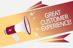 Conceptual hand writing showing Great Customer Experience. Business photo text responding to clients with friendly helpful way Meg. Aphone loudspeaker bubble stock illustration