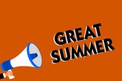 Conceptual hand writing showing Great Summer. Business photo showcasing Having Fun Good Sunshine Going to the beach Enjoying outdo stock illustration