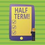 Conceptual hand writing showing Half Term. Business photo text Short holiday in the middle of the periods school year is. Conceptual hand writing showing Half vector illustration