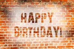 Conceptual hand writing showing Happy Birthday. Business photo showcasing Congratulations Celebrating Anniversary Brick. Conceptual hand writing showing Happy royalty free stock images