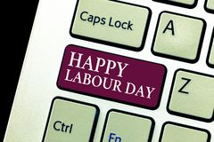Conceptual hand writing showing Happy Labour Day. Business photo text annual holiday to celebrate the achievements of workers.  royalty free stock image