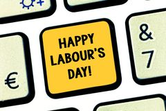 Conceptual hand writing showing Happy Labour S Day. Business photo showcasing annual holiday to celebrate the. Achievements of workers Keyboard key Intention to royalty free stock photo