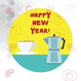 Conceptual hand writing showing Happy New Year. Business photo text Greeting Celebrating Holiday Fresh Start Best wishes. Conceptual hand writing showing Happy royalty free illustration