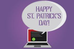 Conceptual hand writing showing Happy St Patrick S Is Day. Business photo text Ireland celebration green lucky charms and clovers. Certificate Layout on Laptop royalty free illustration
