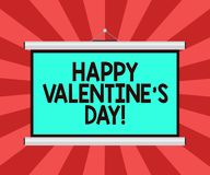 Conceptual hand writing showing Happy Valentine S Is Day. Business photo showcasing when lovers express their affection. With greetings Portable Wall Projection royalty free illustration