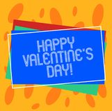 Conceptual hand writing showing Happy Valentine S Is Day. Business photo showcasing when lovers express their affection. With greetings Pile of Rectangular vector illustration