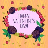 Conceptual hand writing showing Happy Valentine S Is Day. Business photo text when lovers express their affection with. Greetings Floral Wreath made of Tiny royalty free illustration