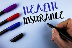 Conceptual hand writing showing Health Insurance. Business photo text Health insurance information coverage healthcare provider wr. Itten by Man plain background stock photography