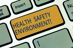 Conceptual hand writing showing Health Safety Environment. Business photo showcasing Environmental protection and safety. At work Keyboard key Intention to stock photography