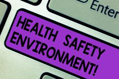 Conceptual hand writing showing Health Safety Environment. Business photo text Environmental protection and safety at. Work Keyboard key Intention to create stock image