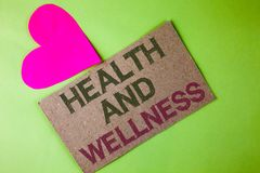 Conceptual hand writing showing Health And Wellness. Business photo text being in good shape Healthy food workout drink water writ. Ten Cardboard Piece the plain Royalty Free Stock Photography