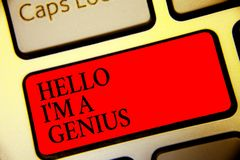 Conceptual hand writing showing Hello I am A Genius. Business photo text Introduce yourself as over average person to royalty free stock photo