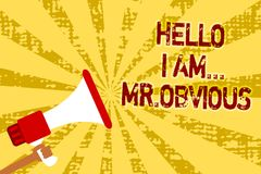 Conceptual hand writing showing Hello I Am.. Mr.Obvious. Business photo text introducing yourself as pouplar or famous person Man. Holding megaphone loudspeaker Stock Photo