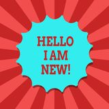 Conceptual hand writing showing Hello I Am New. Business photo text Introducing yourself to unknown showing newbie in the team royalty free illustration