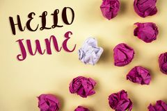 Conceptual hand writing showing Hello June. Business photos showcasing Starting a new month message May is over Summer starting Stock Image