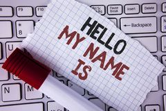 Conceptual hand writing showing Hello My Name Is. Business photo text meeting someone new Introduction Interview Presentation writ. Ten Tear Notebook paper Royalty Free Stock Photos