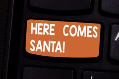 Conceptual hand writing showing Here Comes Santa. Business photo showcasing Christmas song written and performed by Gene. Autry Keyboard key Intention to create vector illustration