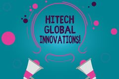 Conceptual hand writing showing Hitech Global Innovations. Business photo text Cutting edge emerging worldwide technologies Two vector illustration