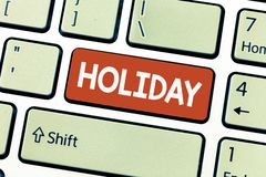 Conceptual hand writing showing Holiday. Business photo showcasing Extended period of leisure recreation Vacation Celebration days.  royalty free stock image