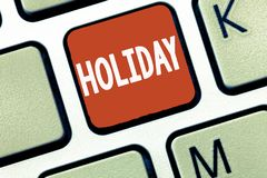 Conceptual hand writing showing Holiday. Business photo showcasing Extended period of leisure recreation Vacation Celebration days.  stock images