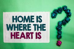 Conceptual hand writing showing Home Is When The Heart Is. Business photo text Your house is where you feel comfortable and happy. White notepad with words teal royalty free stock photo