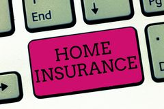 Conceptual hand writing showing Home Insurance. Business photo showcasing Covers looses and damages and on accidents in the house.  stock image