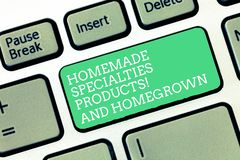 Conceptual hand writing showing Homemade Specialties And Homegrown Products. Business photo text Healthy fresh special. Dishes Keyboard Intention to create royalty free stock images
