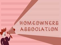 Conceptual hand writing showing Homeowners Association. Business photo showcasing Organization with fee for upkeeps of. Gated Community stock illustration