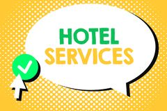 Conceptual hand writing showing Hotel Services. Business photo text Facilities Amenities of an accommodation and lodging house.  stock illustration