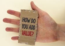 Conceptual hand writing showing How Do You Add Value Question. Business photo text Bring business progress contribute earn written. Tear Cardboard Piece the Stock Photography