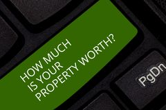Conceptual hand writing showing How Much Is Your Property Worthquestion. Business photo showcasing Establish the price. Of properties Keyboard key Intention to royalty free stock photos
