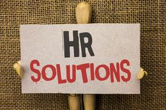 Conceptual hand writing showing Hr Solutions. Business photo text Recruitment Solution Consulting Management Solving Onboarding wr. Itten Cardboard Piece the Stock Image