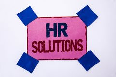 Conceptual hand writing showing Hr Solutions. Business photo text Recruitment Solution Consulting Management Solving Onboarding wr. Itten Pink Sticky Note Paper Stock Images