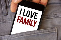 Conceptual hand writing showing I Love Family. Business photos text Good feelings Affection Carefulness for your mother father. Conceptual hand writing showing I royalty free stock photography