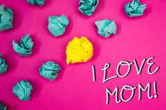 Conceptual hand writing showing I Love Mom Motivational Call. Business photos showcasing Good feelings for their own mother Tender. Conceptual hand writing royalty free stock images